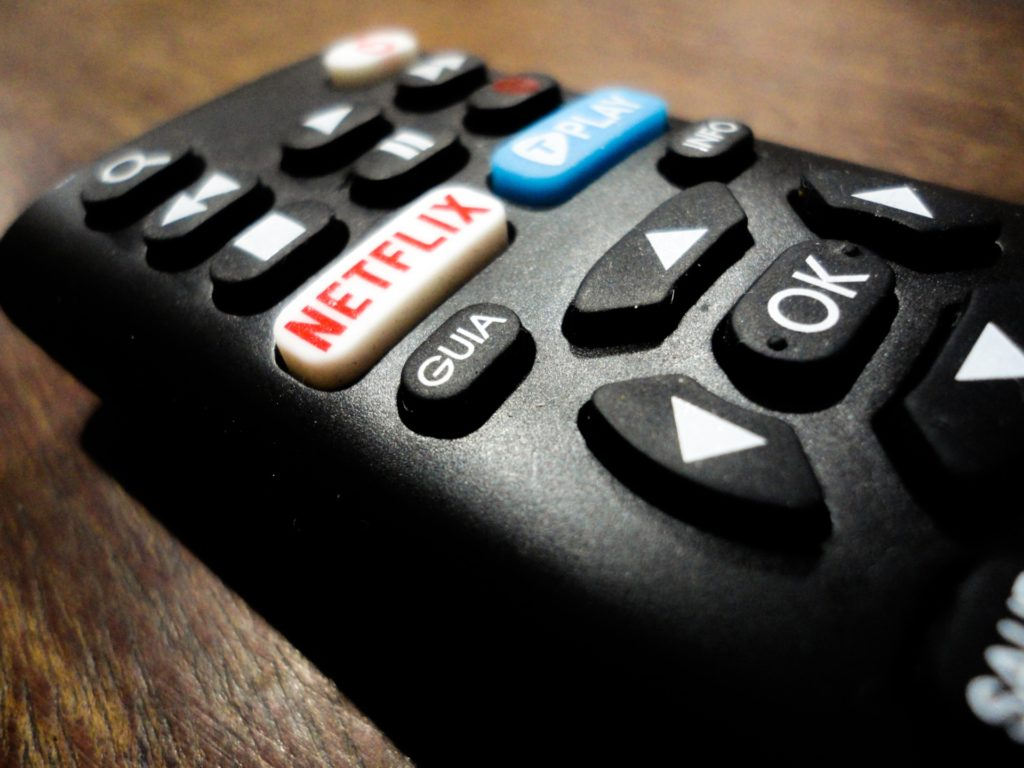 close-up of a remote with a Netflix button