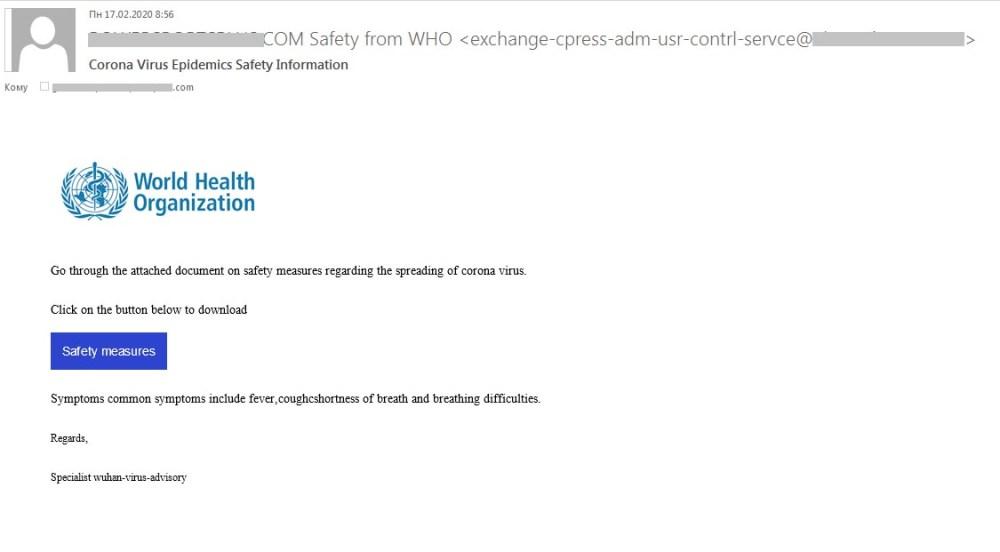 coronavirus scam email